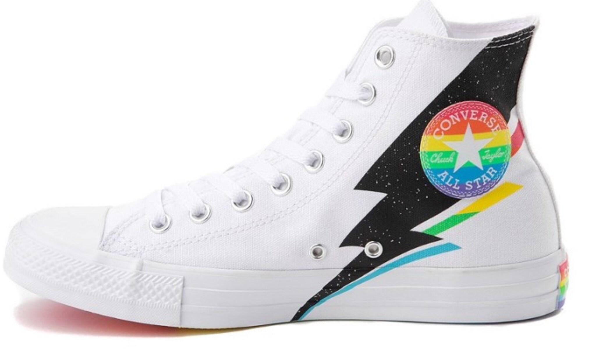 fae0f55696c91 Pride Converse LGBTQ 2019 Rainbow Multicolor White High Top Glitter  Lightning Bolt Chuck Taylor w/ Swarovski Crystal All Star Sneakers Shoes