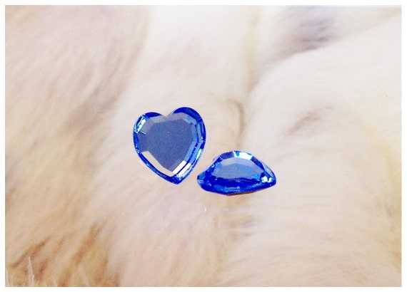 Sapphire Blue Heart Earrings 10mm Vintage Gem New Crystal Swarovski Silver Titanium Hypoallergenic Stud Post Minimalist Ladies Jewelry