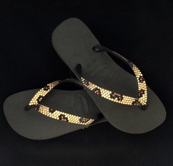 1e36ad7d36d42 Havaianas Flip Flops Custom Gold Leopard Cheetah Jungle Animal print w   Swarovski Crystal Bling flat or Cariris Wedge Heel Thong Beach Shoes