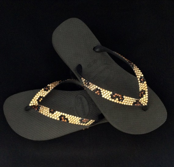 "Leopard Havaianas Flip Flops Custom Gold Cheetah Jungle Animal print w/ Swarovski Crystal Bling flat or 1.5"" low Wedge Heel Thong Beach Shoe"