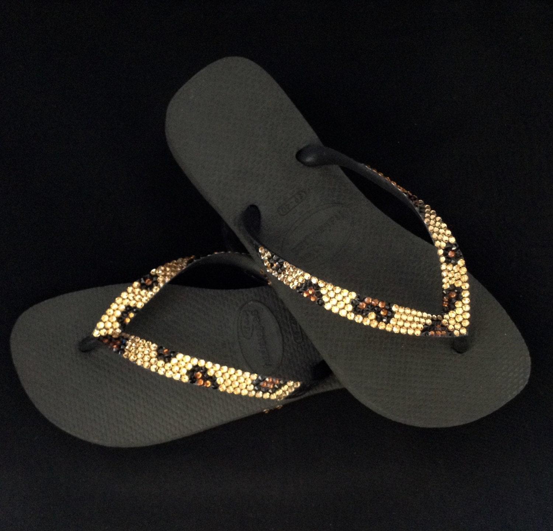 f131c3d2b70350 Havaianas Flip Flops Custom Gold Leopard Cheetah Jungle Animal print w   Swarovski Crystal Bling flat or Cariris Wedge Heel Thong Beach Shoes