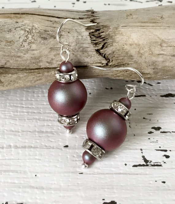 Red Iridescent Burgundy Chandelier Pearl Earrings Swarovski Crystal Pearls Gold Silver Drop Dangle Hooks Titanium Hypo Allergic Ladies Gift