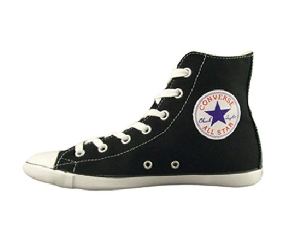 Black Converse High Top Canvas Acoustic Hi Boot Slim Lux Custom Bling w/ Swarovski Crystal Rhinestones Chuck Taylor All Star Sneakers Shoes