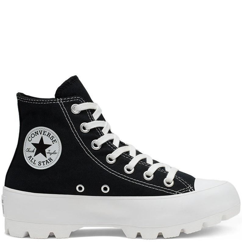 f4f29fa752556 Black Platform Converse Canvas Wedge High Top Lugged Club Kicks Custom w/  Swarovski Crystal Rhinestone Chuck Taylor All Star Sneakers Shoes