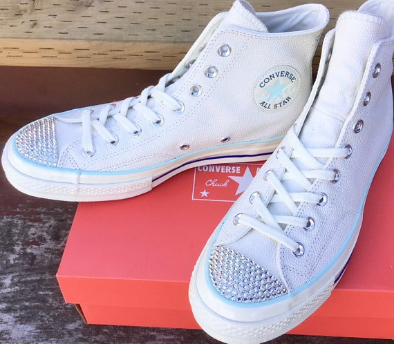 Baby Blue White Converse High Tops Leather Vintage 70s Custom Chuck Taylor Kicks w/ Swarovski Crystal Jewels All Star Wedding Sneakers Shoes
