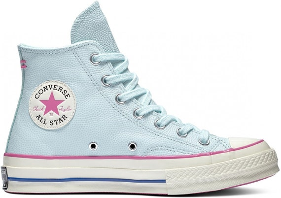 Baby Blue Converse Pink Fuchsia High Tops Leather Vintage 70 Custom Chuck Taylor w/ Swarovski Crystal Jewels All Star Wedding Sneakers Shoes