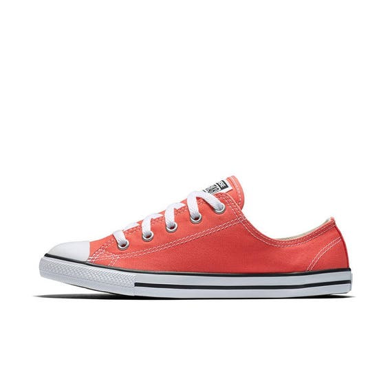 Coral Red Converse Dainty Slip on Rouge Pink Custom w/ Swarovski Crystal Jewel Rhinestone Bling Chuck Taylor All Star Wedding Sneakers Shoes