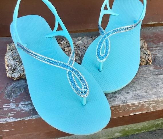 Baby Blue Flip Flops Havaianas Slim Luna Custom Crystal Gladiator Infinity w/ Swarovski Rhinestones Turquoise Aquamarine Beach Wedding Shoes