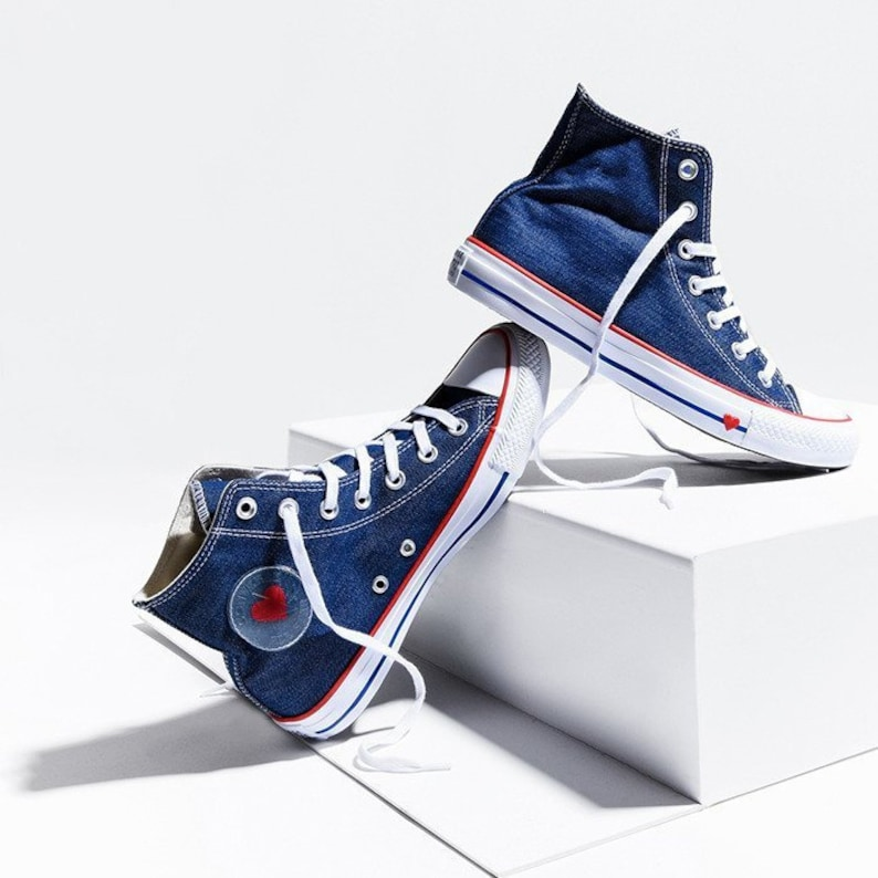 611ed4f56129 Navy Blue Denim Converse High Top Love Heart Bridal Custom w