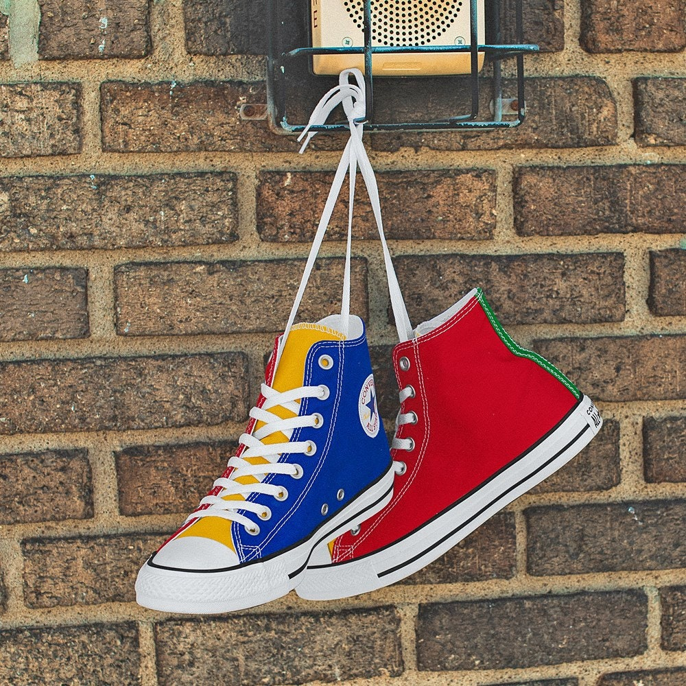 Rainbow Converse Color block High Top Canvas Blue Green Red Yellow Chuck Taylor w/ Swarovski Crystal Jewel All Star Sneakers Basketball Shoe