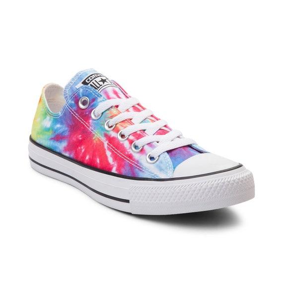 Rainbow 60s Etsy Converse Canvas Dye W Low Pride Top Tie Boho vxIEIn