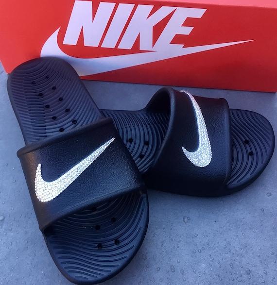 Black Nike Kawa Slide slip on Beach Pool Flip Flops Custom Crystal w/ Swarovski Rhinestone Jewel Wedding Vacation Holiday Bling Sandal Shoes