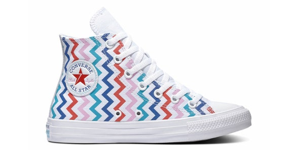 Rainbow Converse High Voltage Multicolor Zig Zag Fresh White Lightning Bolt Chuck Taylor Custom w/ Swarovski Crystal All Star Sneakers Shoes