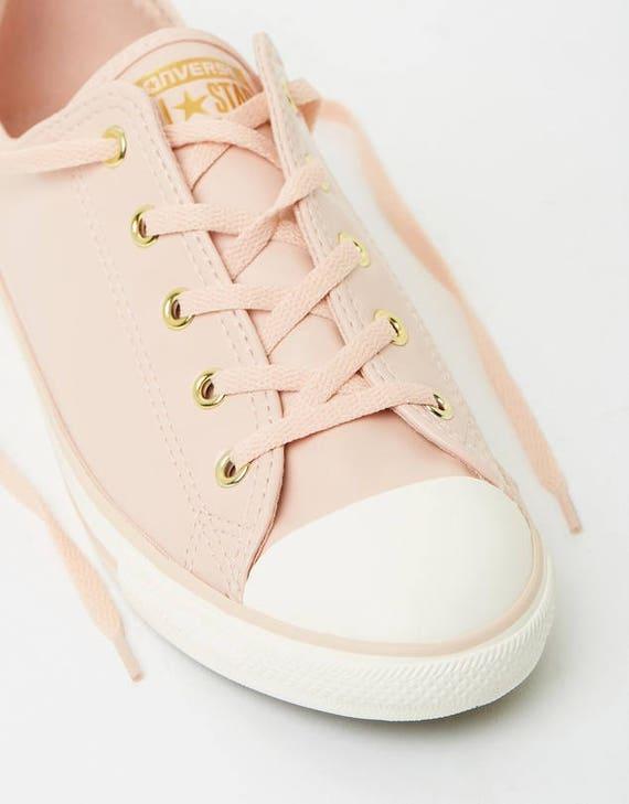 Pink Converse Dainty Blush Daybreak Leather Gold Wedding Bride Slip ons w/ Swarovski Crystal  Rhinestone Chuck Taylor All Star Sneakers Shoe