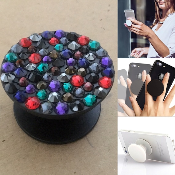 Mystic Black Crystal Phone Pop Grip Stand Dock 3M Prop Jewels w/ Swarovski Bling Rhinestones Android Galaxy iPhone Case Tech Custom Gifts