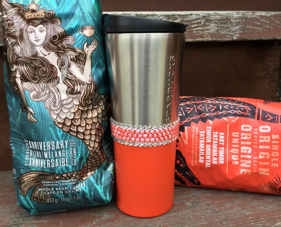 Starbucks Stainless Steel Cup Tumbler Custom w/ Swarovski Crystal 12 oz Tall Coral Salmon Pink Orange Travel Coffee Tea Mug Rhinestone Jewel