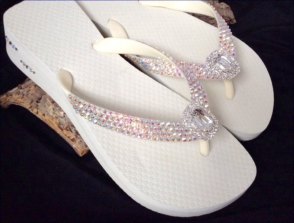 a22bc8d29 Custom Flip Flops Beach Bride Octagon Rocks w  Swarovski Crystal Havaianas  or Cariris Wedge Baguette Jewel Bling Wedding Thong Shoes