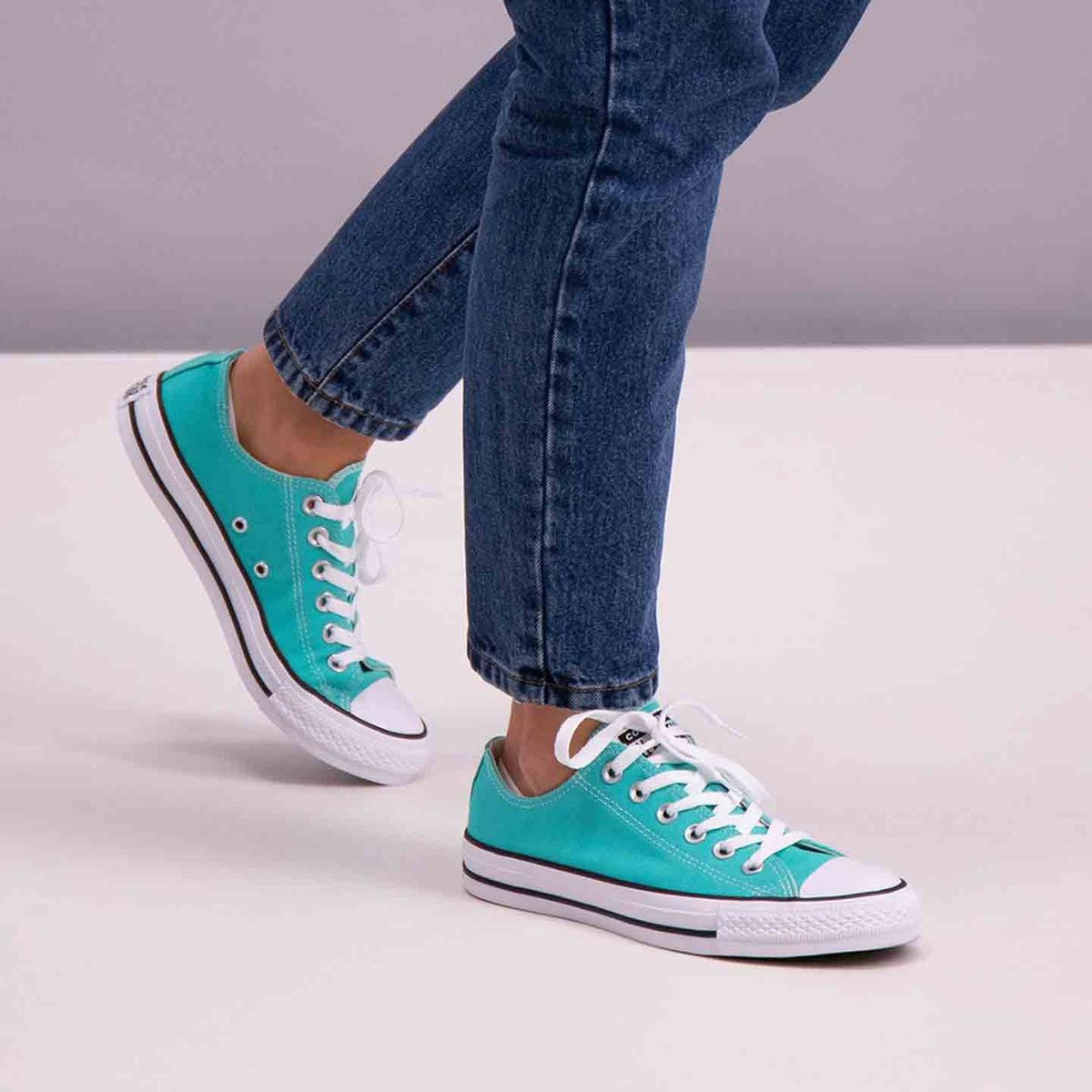 b2882f3c8823 Turquoise Blue Aqua Converse Pure Teal Low Tops w  Swarovski Crystal  Rhinestone Chuck Taylor All Star Bride Groom Wedding Sneakers Shoes