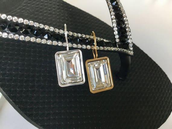 Crystal Earrings Baguette rectangle 14x10 mm Swarovski Fancy Jewel Gold Silver French hook Minimalist Fashion Jewelry gift Ladies Christmas