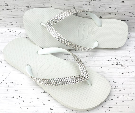 White Crystal Flip Flops Custom color shade w/ Swarovski Rhinestone Jewel Bling Havaianas flat or Cariris Low wedge Beach Bride Wedding Shoe