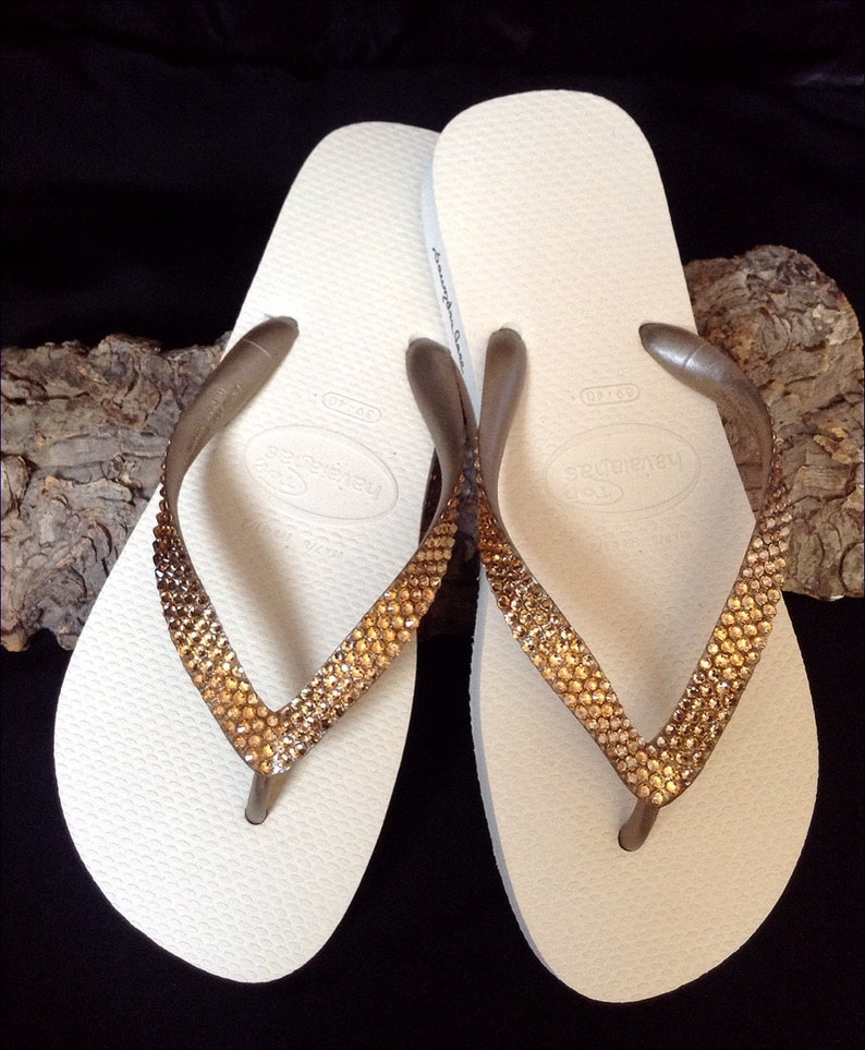 cd1a34dea12c Gold Havaianas Flip Flops Metallic Beige Ivory Cream Golden