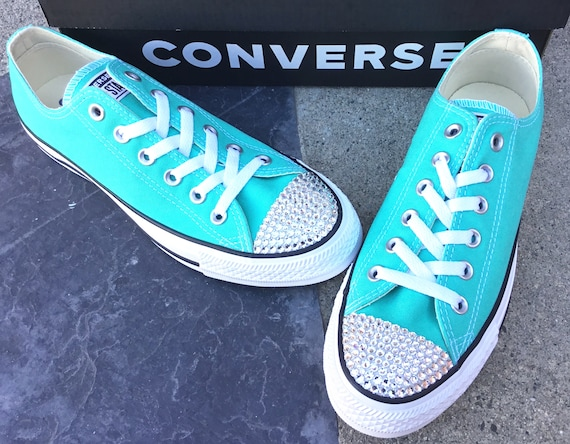 bea27afdc781 ... Shoes  99.99 Aqua Blue Converse Low Top Turquoise Pure Teal Custom w   Swarovski Crystal Rhinestone Chuck Taylor