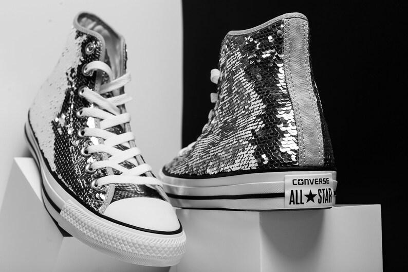 Argent étincelle Converse haute Top Sequins paillettes de mariage gris personnalisé w cristal Swarovski strass Chuck Taylor All Star baskets