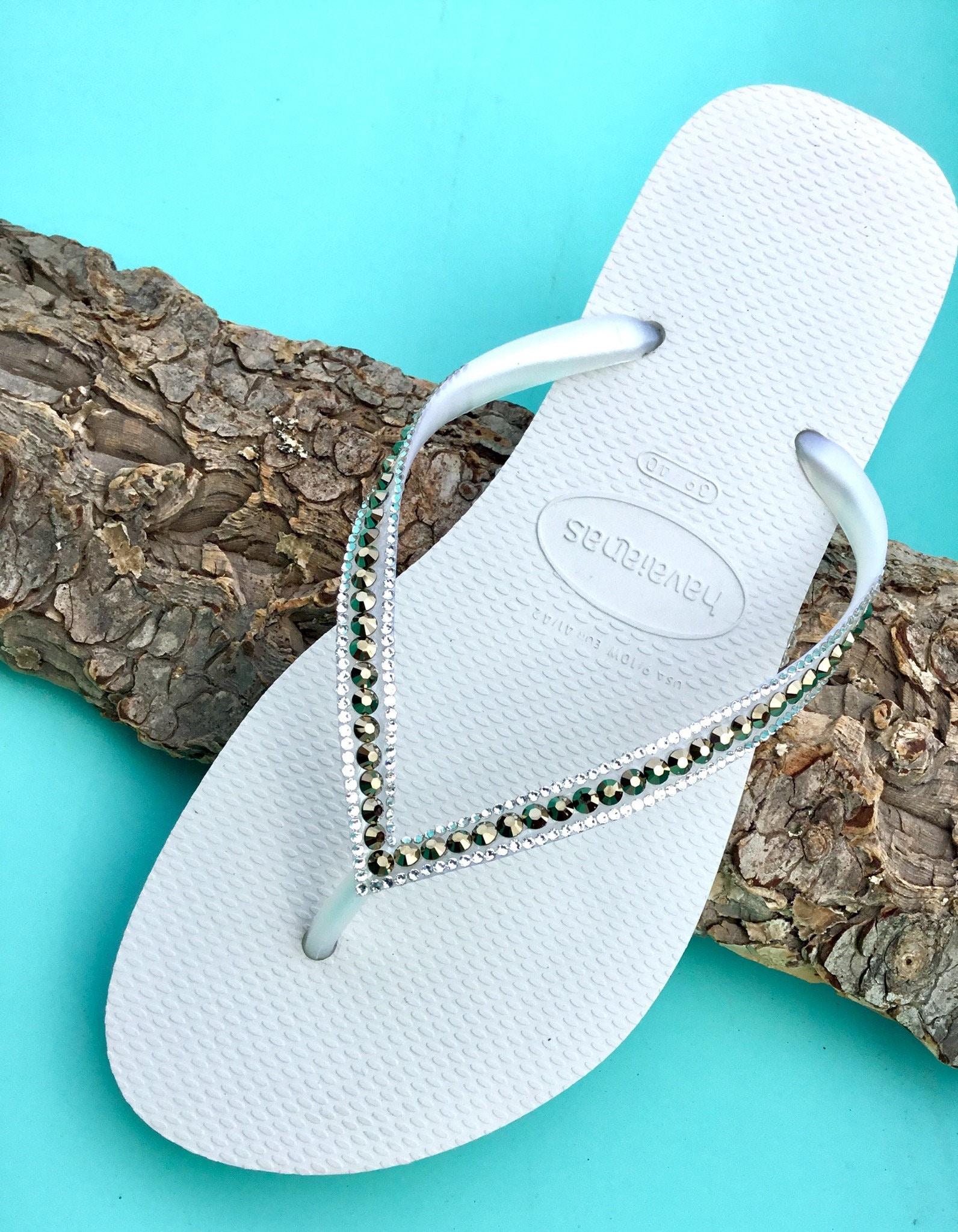 1970565e2 White Flip Flops Havaianas Slim Metallic Light Gold Ore w  Swarovski  Rhinestone Jewels Beach Wedding Bridal Bridesmaid Bling Slippers Shoes
