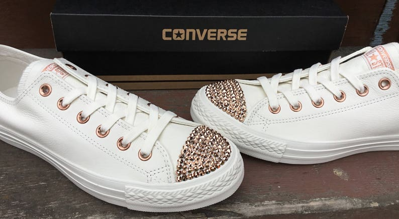 18976a70b374 Ivory Converse Leather Low Top Cream Blush Pink Rose Gold