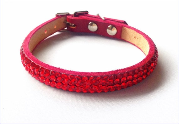 "Red Colllar Custom Super Bling 8-10"" Leather Pet Jewelry Cherry Exclusive 3D Iced w/Swarovski Crystal Rhinestones Dog Cat Breakaway Safety"