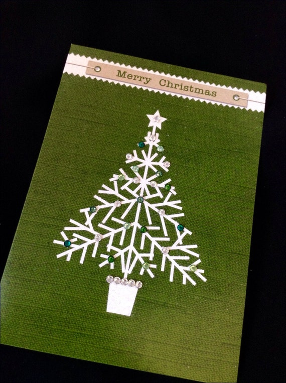 Christmas Card Holiday Green linen look ECO Embossed Glitter Tree Decorated w/ Swarovski Crystal Rhinestone Seasonal Greeting w/ Envelope