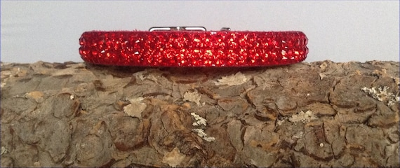 "Red Leather Collar Custom Super Bling 8-10"" Pet Jewelry Cherry Exclusive 3D Iced w/Swarovski Crystal Rhinestones Dog Cat Breakaway Safety"