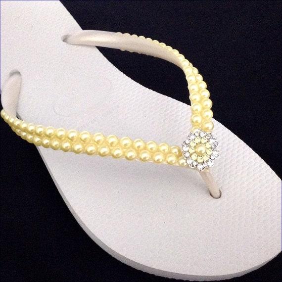 Pearl Flip Flops Custom Havaianas Slim White Butter Cream Yellow Daffodil w/ Swarovski Crystal Filigree Bridal Bridemaid Beach Wedding Shoes