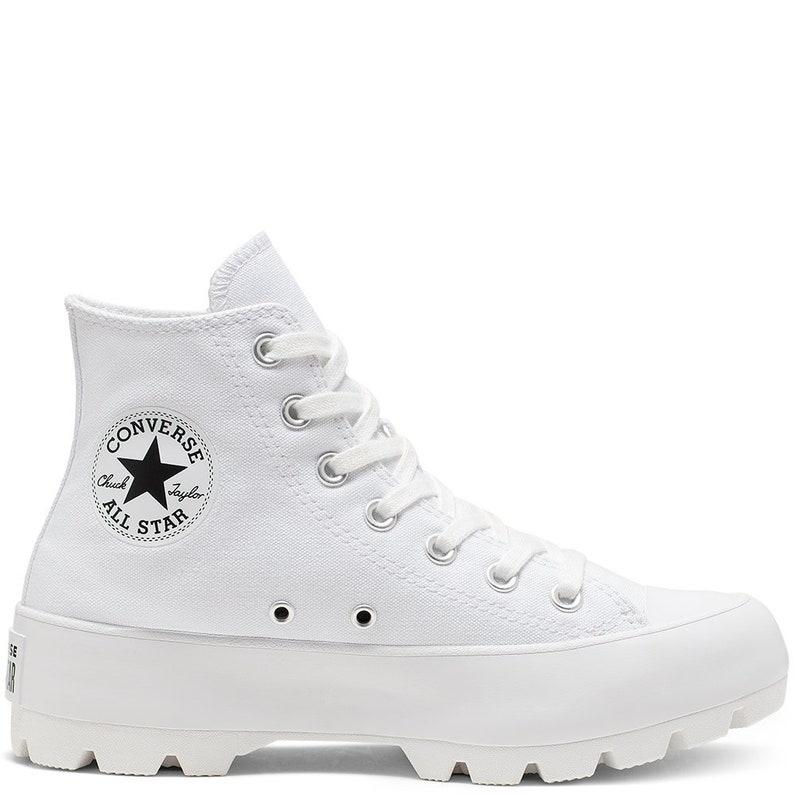 c458fc869a700 White Platform Converse Canvas Wedge High Top Lugged Club Kicks Custom w/  Swarovski Crystal Rhinestone Chuck Taylor All Star Sneakers Shoes