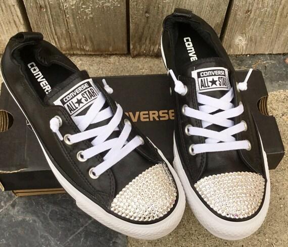 Black Converse Metallic Shoreline Wedding Slip on Ladies Bridal w/ Swarovski Crystal Rhinestone Jewel Chuck Taylor All Star Sneakers Shoes