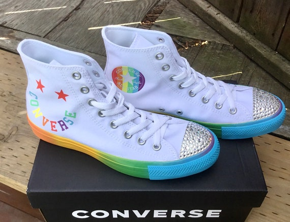 Rainbow Converse High Top Smile Face Pride Bling White LGBTQ Chuck Taylor Girls Custom w/ Swarovski Crystal All Star Wedding Sneakers Shoes