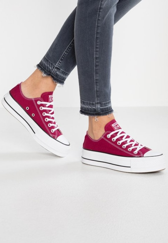 Burgundy Converse Platform heel wedge Raspberry Red Lift Canvas Low Top Club w/ Swarovski Crystal Chuck Taylor All Star Wedding Sneaker Shoe