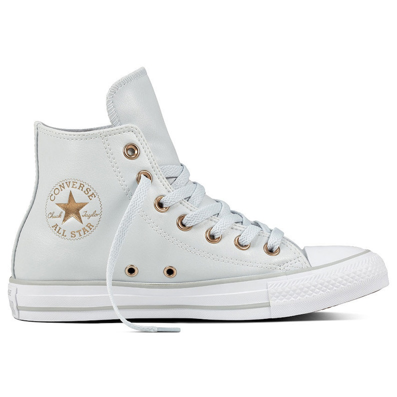 Gray Converse High Top Leather Grey Platinum Brass Bridal w   db3b33402048