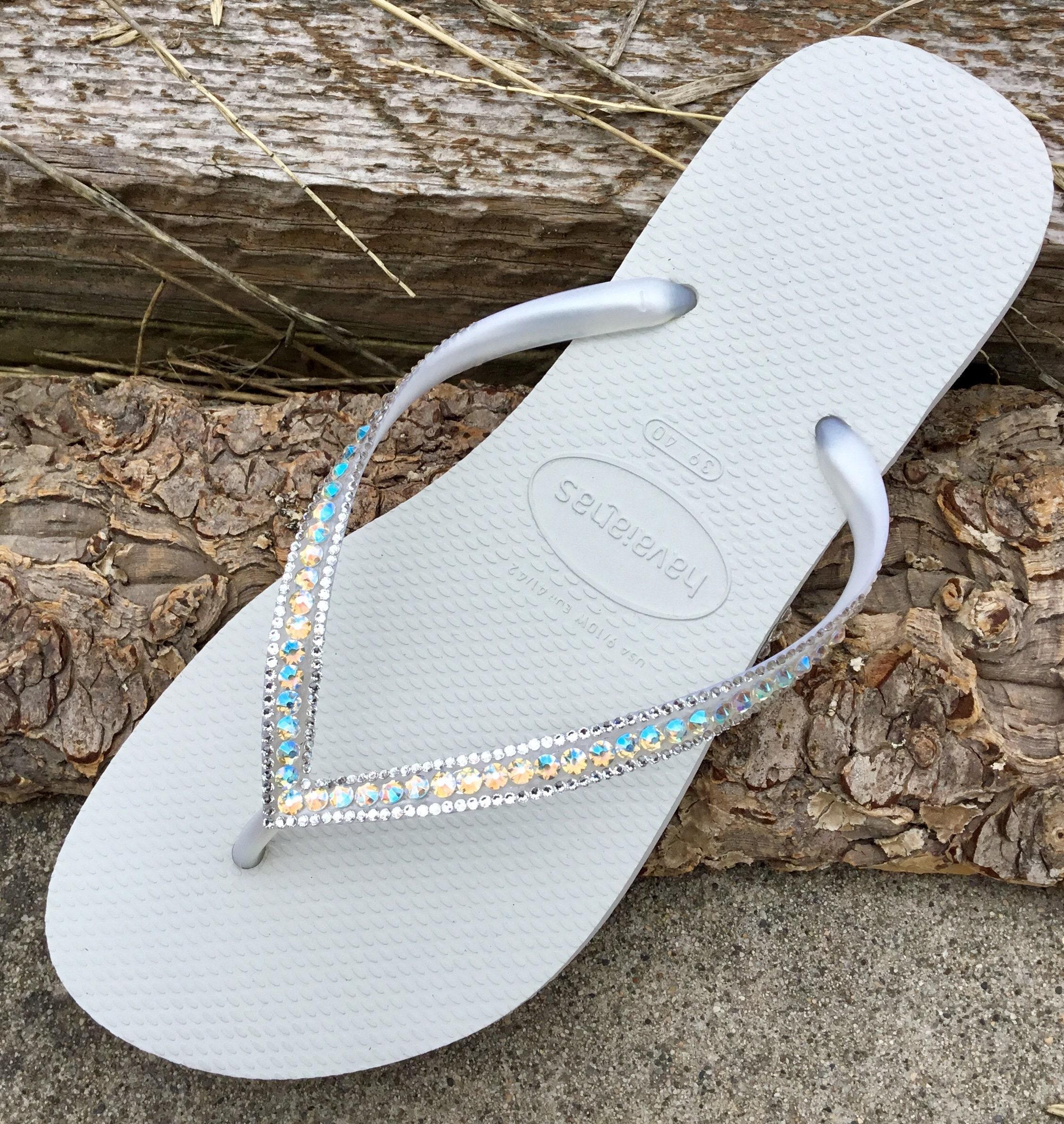 7fd7f14d50df67 White Crystal Havaianas Slim Flip Flops AB Shimmer Iridescent Jewels w   Swarovski Rhinestone Beach Bling Wedding Bridal Sandals Flats Shoes
