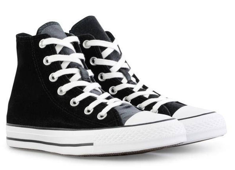 Black Velvet Converse Chuck Taylor Crush High Top w  Custom  829b6b2efa29