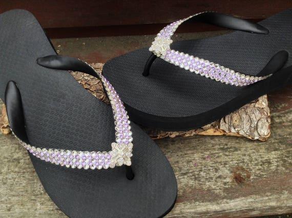 Bling Flip Flops Super Sparkle Havaianas flat Wedge 1.5 Heel w/ Violet Purple Swarovski Crystal 3D Ice Cap Silver Wedding Beach Bridal Shoe