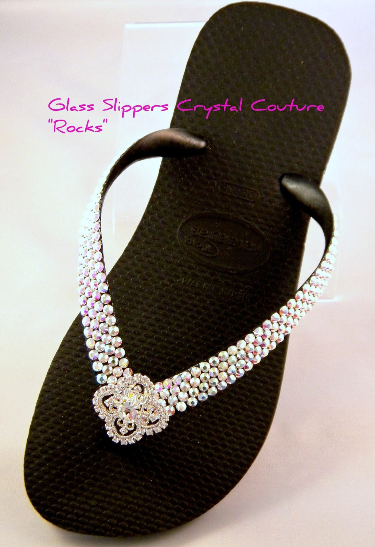 36f775f0563eff Crystal Havaianas Flip Flop flat or Cariris Wedge w  Swarovski Rhinestones  Custom Silver Filigree Bling Beach Wedding sandals Bridal Shoes