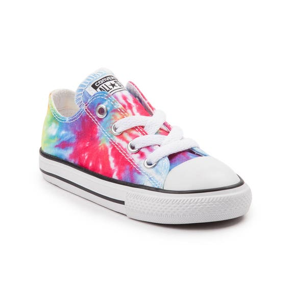 Kids Converse Childrens Toddler Baby Canvas Tie Dye Rainbow Low Top w/ Swarovski Crystal Rhinestone Chuck Taylor All Star Sneaker Shoe