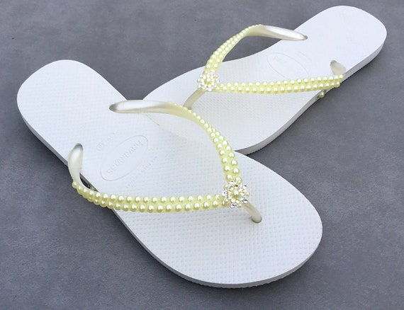 Light Yellow Pearl Flip Flops Custom Havaianas Slim White Butter Cream w/ Swarovski Crystal Filigree Bridal Bridesmaid Beach Wedding Shoes