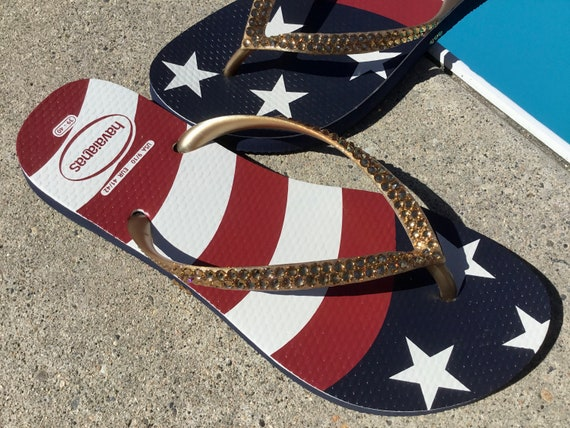 USA Havaianas Slim Crystal Flip Flops Custom w/ Swarovski Gold Rhinestone Stars & Stripes Memorial Red White Blue July 4 Independence Shoes