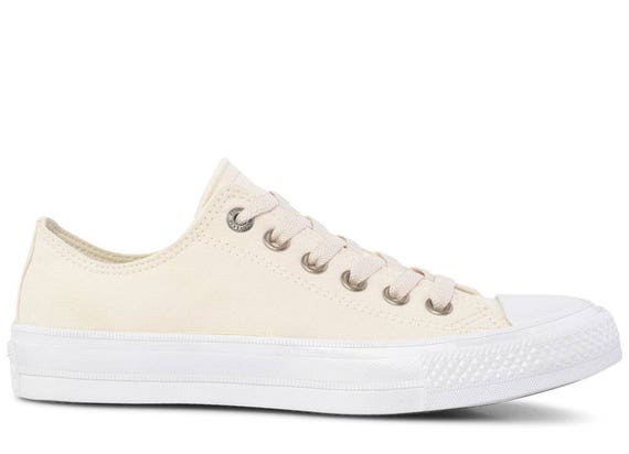 Ivory Converse Low Top Brush Leather Suede Chuck Taylor II Cream White Wedding w/ Swarovski Crystal Rhinestone All Star Bridal Sneakers Shoe
