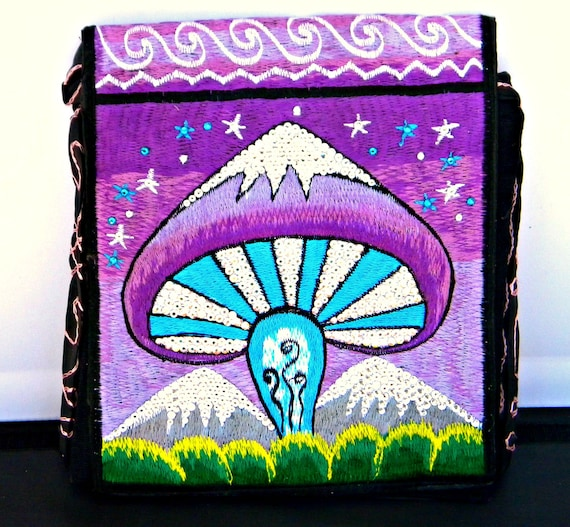 Purple Purse Hippie Hobo Bag Custom psychedelic Mushroom w/ Swarovski Crystal Bling Nepal Cross Body Messenger Pink Green Blue Brown gift