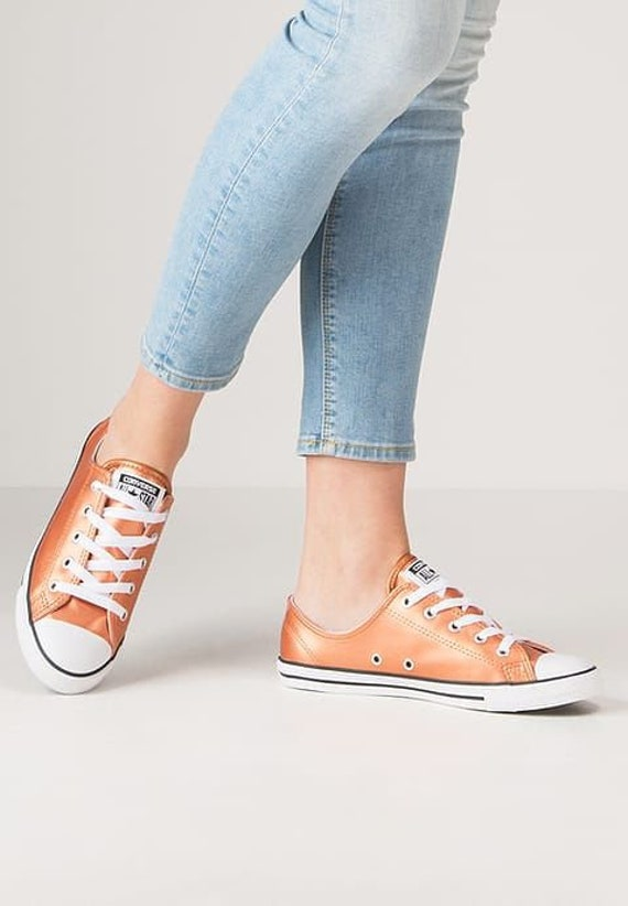 Orange Converse Dainty Wedding Slip on Leather Gold Copper Custom w/ Swarovski Crystal Rhinestone Chuck Taylor All Star Sneakers Shoe