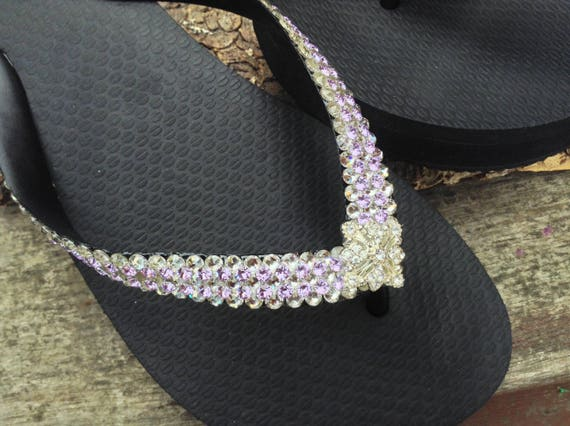 Bling Flip Flops Super Sparkle Havaianas flat Wedge 1.5 Heel w/ Violet Purple Swarovski Crystal 3D Ice Cap Silver Wedding Beach Bridal Shoe