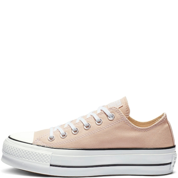 Peach Beige Converse Platform Heel Ivory Lift Canvas Low Top  5c7eab03a5